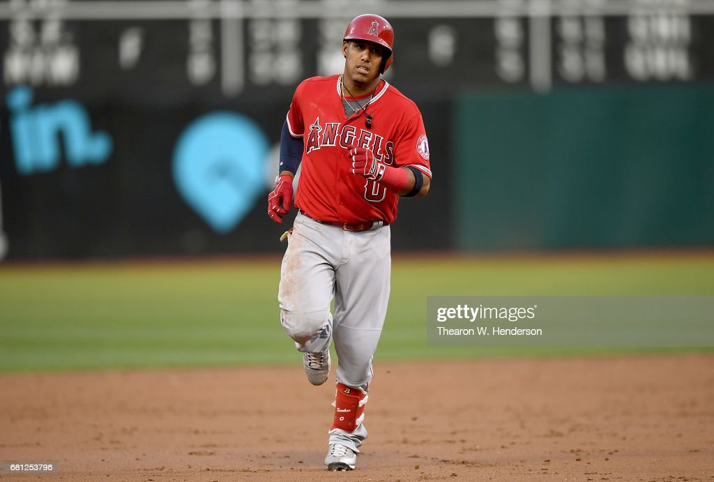 Yunel Escobar #0 of the Los Angeles Angels of Anaheim rounds the bases after hitting a three-run homer against the Oakland Athletics in the top of the second inning at Oakland Alameda Coliseum on May 9, 2017 in Oakland, California.