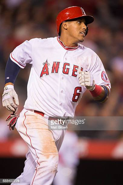 Yunel Escobar of the Los Angeles Angels of Anaheim runs during the game against the St Louis Cardinals at Angel Stadium of Anaheim on May 10 2016 in...