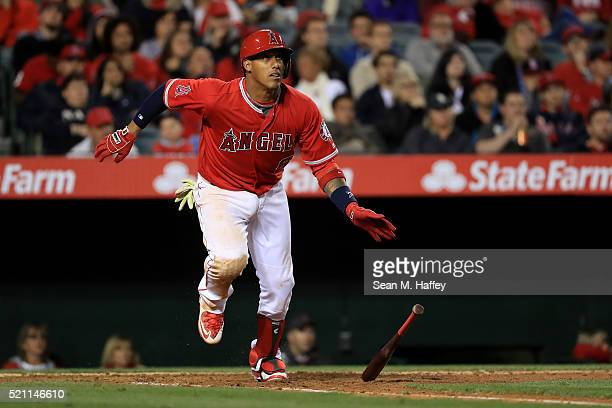 Yunel Escobar of the Los Angeles Angels of Anaheim runs to first base during the eighth inning of a baseball game between the Los Angeles Angels of...