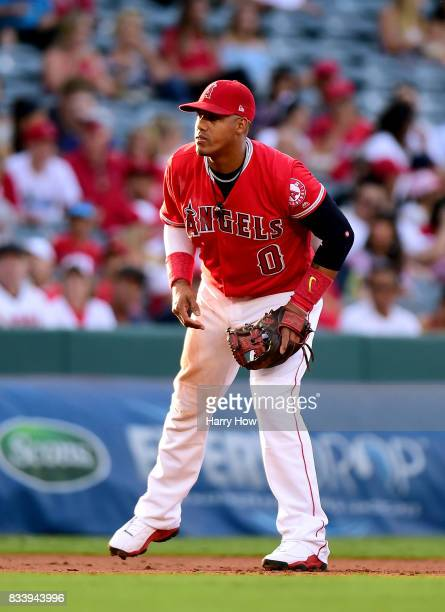 Yunel Escobar of the Los Angeles Angels plays third during the first inning against the Tampa Bay Rays at Angel Stadium of Anaheim on July 14 2017 in...