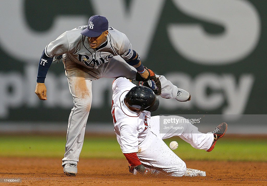 Yunel Escobar #11 of the Tampa Bay Rays drops the ball as Dustin Pedroia #15 of the Boston Red Sox steals second in the 3rd inning allowing a run to score at Fenway Park on July 23, 2013 in Boston, Massachusetts.