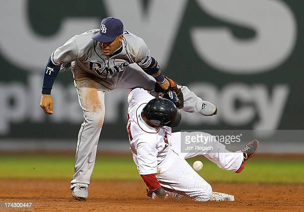 Yunel Escobar of the Tampa Bay Rays drops the ball as Dustin Pedroia of the Boston Red Sox steals second in the 3rd inning allowing a run to score at...