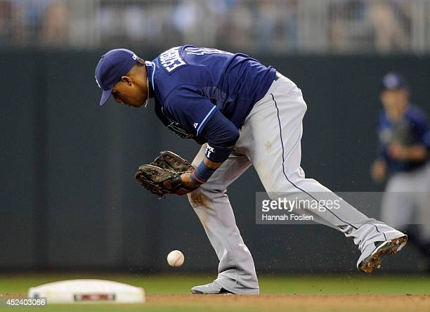 Yunel Escobar of the Tampa Bay Rays is unable to hold onto the ball hit by Chris Colabello of the Minnesota Twins during the seventh inning of the...