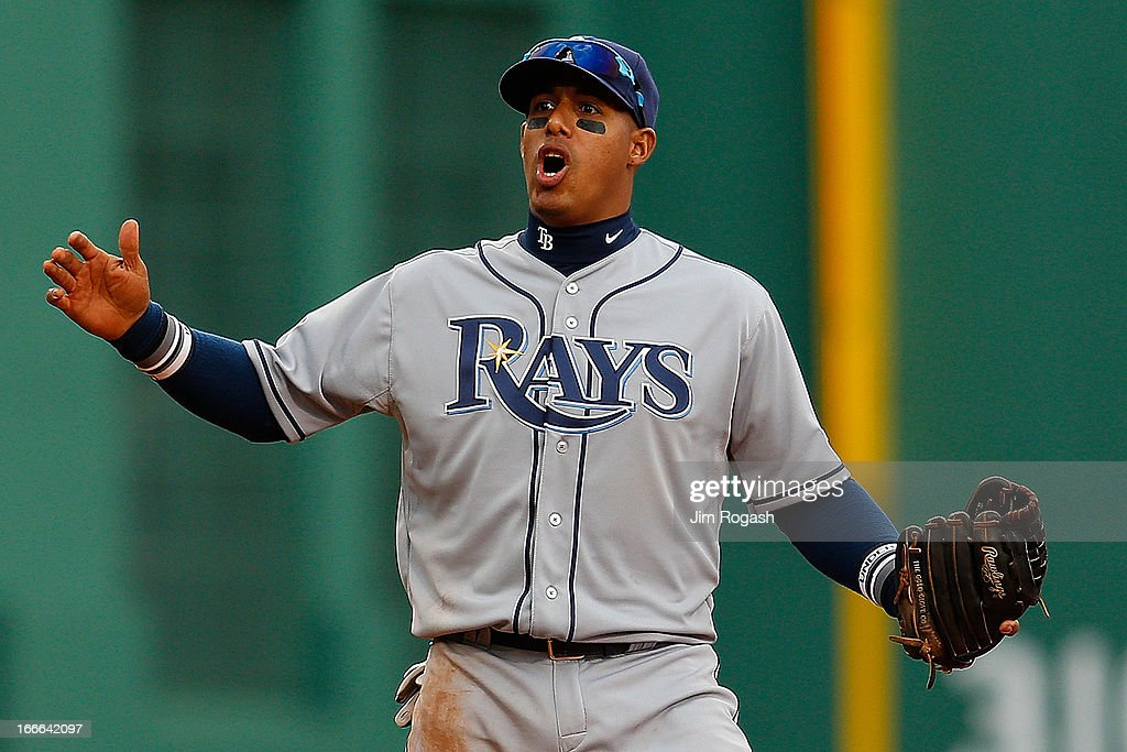<a gi-track='captionPersonalityLinkClicked' href=/galleries/search?phrase=Yunel+Escobar&family=editorial&specificpeople=757358 ng-click='$event.stopPropagation()'>Yunel Escobar</a> #11 of the Tampa Bay Rays reacts in the fourth inning after a failed double play attempt against the Boston Red Sox at Fenway Park on April 14, 2013 in Boston, Massachusetts.