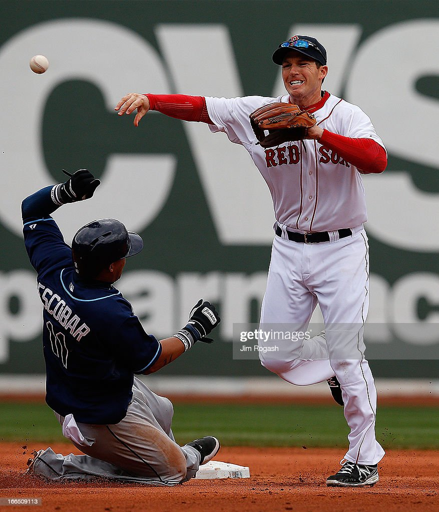 <a gi-track='captionPersonalityLinkClicked' href=/galleries/search?phrase=Yunel+Escobar&family=editorial&specificpeople=757358 ng-click='$event.stopPropagation()'>Yunel Escobar</a> #11 of the Tampa Bay Rays slides as <a gi-track='captionPersonalityLinkClicked' href=/galleries/search?phrase=Stephen+Drew&family=editorial&specificpeople=757520 ng-click='$event.stopPropagation()'>Stephen Drew</a> #7 of the Boston Red Sox turns a double play in the seventh inning at Fenway Park on April 13, 2013 in Boston, Massachusetts.