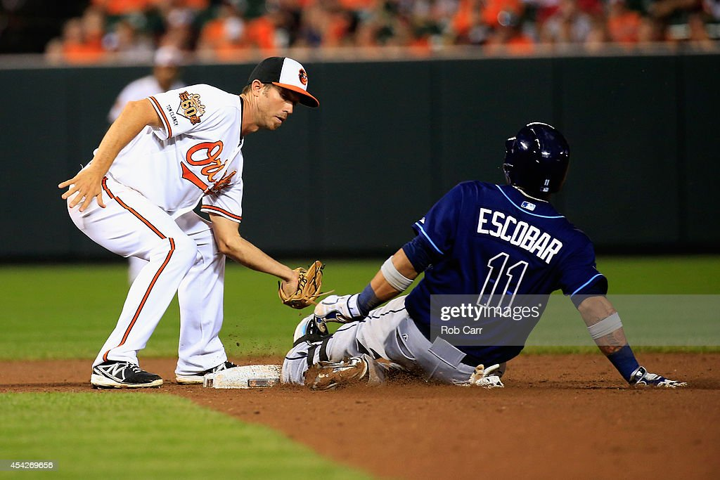 Yunel Escobar #11 of the Tampa Bay Rays slides into second base for a double as J.J. Hardy #2 of the Baltimore Orioles applies the late tag during the ninth inning of the Rays 3-1 win at Oriole Park at Camden Yards on August 27, 2014 in Baltimore, Maryland.