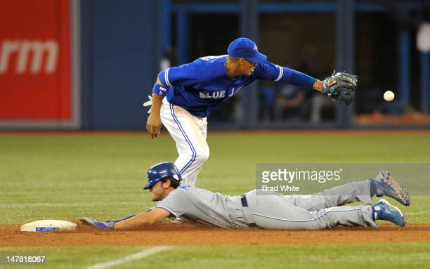 Yunel Escobar of the Toronto Blue Jays can't make the tag as Mike Moustakas of the Kansas City Royals slides safely into second base during MLB game...
