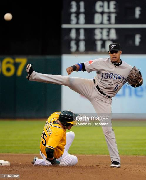 Yunel Escobar of the Toronto Blue Jays gets his throw off to complete the double play avoiding the slide of Ryan Sweeney of the Oakland Athletics in...