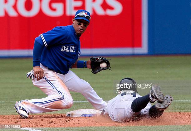 Yunel Escobar of the Toronto Blue Jays makes the play to catch Brett Gardner of the New York Yankees stealing at second during MLB action at the...