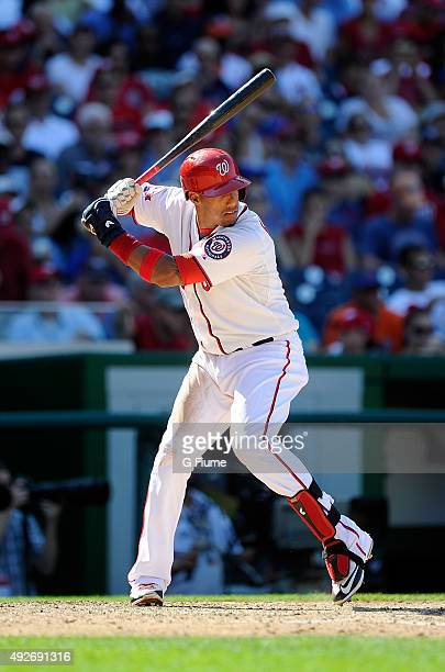Yunel Escobar of the Washington Nationals bats against the New York Mets at Nationals Park on September 7 2015 in Washington DC