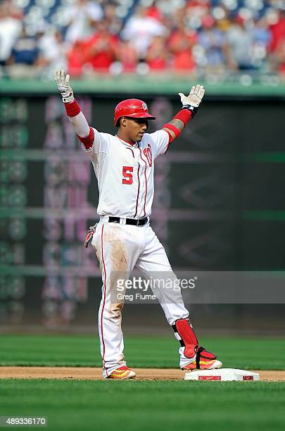 Yunel Escobar of the Washington Nationals celebrates after hitting a threerun double in the sixth inning against the Miami Marlins at Nationals Park...