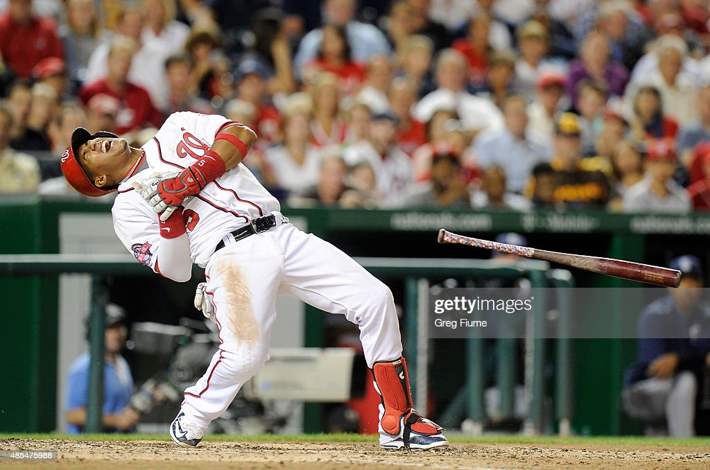 <a gi-track='captionPersonalityLinkClicked' href=/galleries/search?phrase=Yunel+Escobar&family=editorial&specificpeople=757358 ng-click='$event.stopPropagation()'>Yunel Escobar</a> #5 of the Washington Nationals falls to the ground after being hit by a pitch in the fifth inning against the San Diego Padres at Nationals Park on August 27, 2015 in Washington, DC.