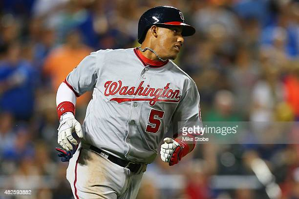 Yunel Escobar of the Washington Nationals hits a game tying RBI single in the eighth inning against the New York Mets at Citi Field on July 31 2015...