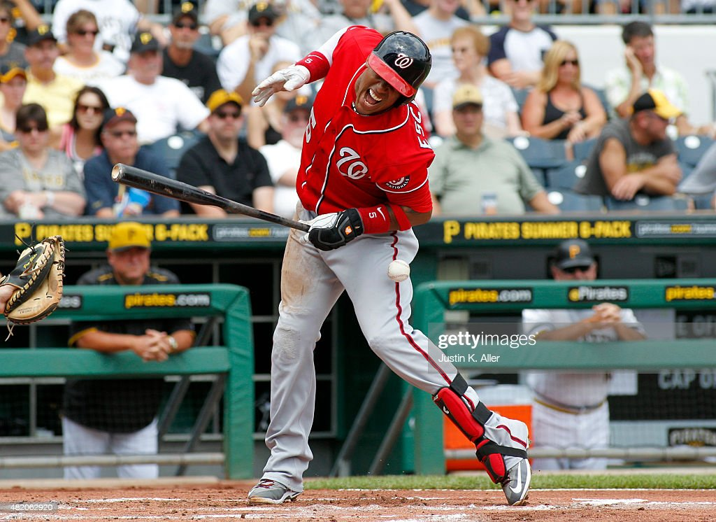 <a gi-track='captionPersonalityLinkClicked' href=/galleries/search?phrase=Yunel+Escobar&family=editorial&specificpeople=757358 ng-click='$event.stopPropagation()'>Yunel Escobar</a> #5 of the Washington Nationals is hit by a pitch in the second inning during the game against the Pittsburgh Pirates at PNC Park on July 26, 2015 in Pittsburgh, Pennsylvania.