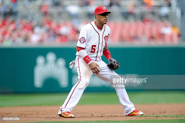 Yunel Escobar of the Washington Nationals plays third base against the Philadelphia Phillies at Nationals Park on September 27 2015 in Washington DC