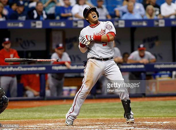 Yunel Escobar of the Washington Nationals reacts after being hit by a pitch from Erasmo Ramirez of the Tampa Bay Rays during the third inning of a...
