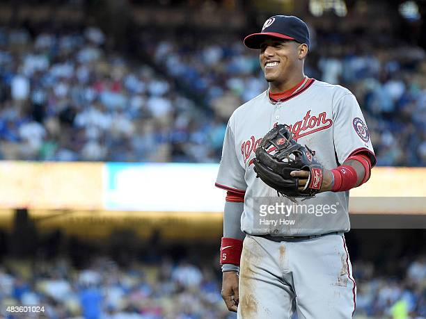 Yunel Escobar of the Washington Nationals reacts as he leaves the field after his play for an out of AJ Ellis of the Los Angeles Dodgers to end the...