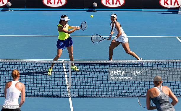 YungJan Chan and HaoChing Chan of Chinese Taipei during their third round doubles match against Jocelyn Rae and Anna Smith of Great Britain during...