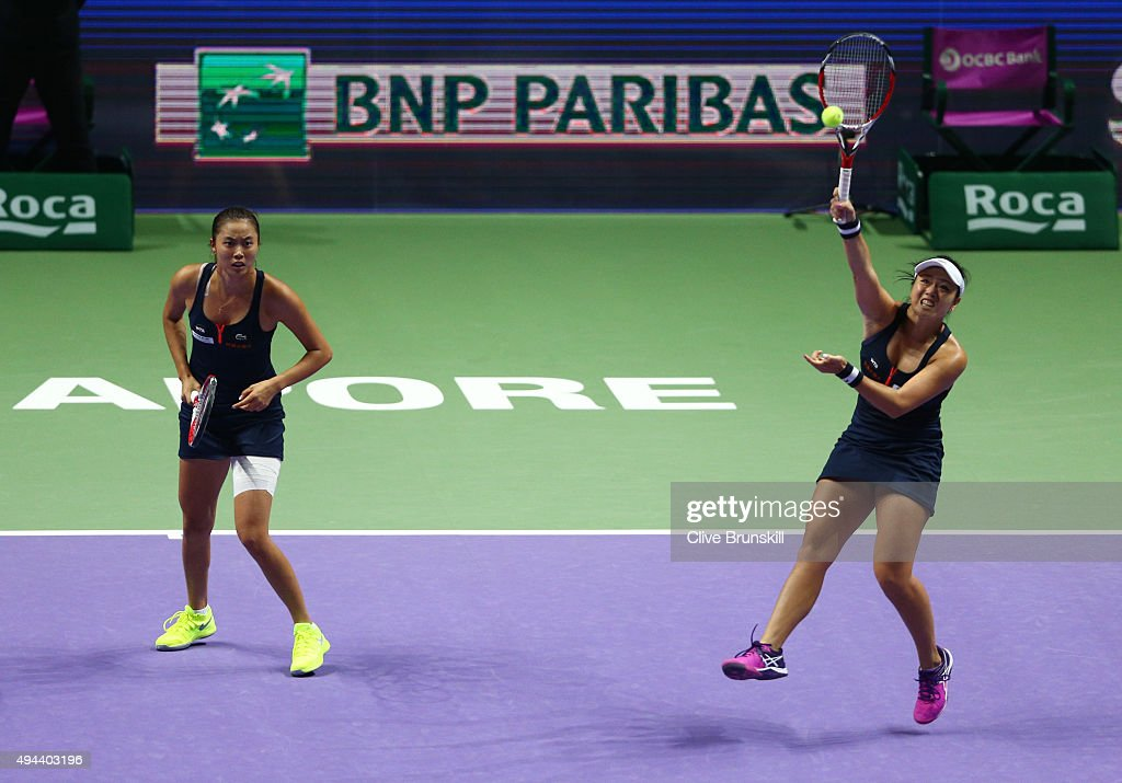 YungJan Chan of Chinese Taipei and HaoChing Chan of Chinese Taipei in action against Bethanie MattekSands of the USA and Lucie Safarova of Czech...