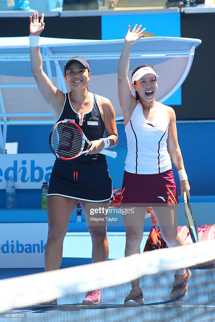 YungJan Chan of Chinese Taipei and Jie Zheng of China in action in their semifinal doubles match against Michaella Krajicek of the Netherlands and...