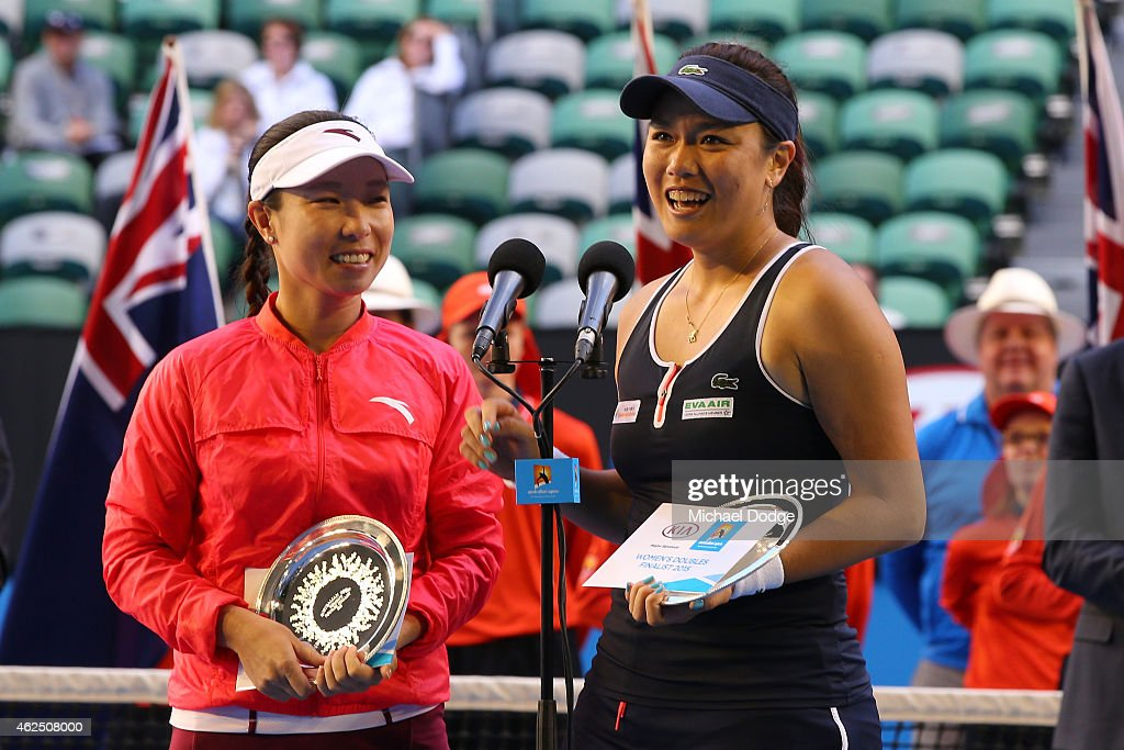 YungJan Chan of Chinese Taipei and Jie Zheng of China with the runner up plate after losing their doubles final match against Bethanie MattekSands of...