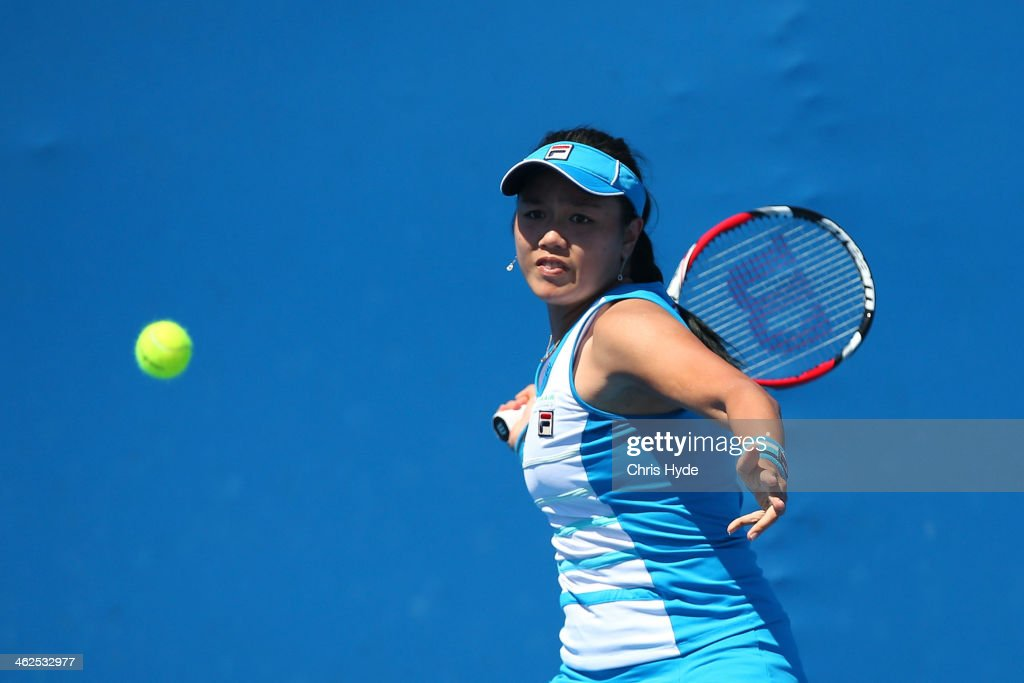 YungJan Chan of Chinese Taipei plays a forehand in her first round match against Christina McHale of the United States during day two of the 2014...