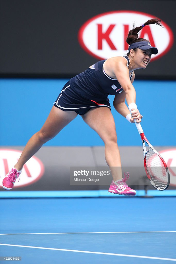 YungJan Chan of Chinese Taipei serves in their final doubles match with Jie Zheng of China against Bethanie MattekSands of the United States and...