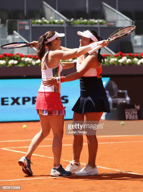 YungJan Chan of Taipei and Martina Hingis of Switzerland celebrate defeating Timea Babos of Hungary and Andrea Hlavackova of Czech Republic after the...
