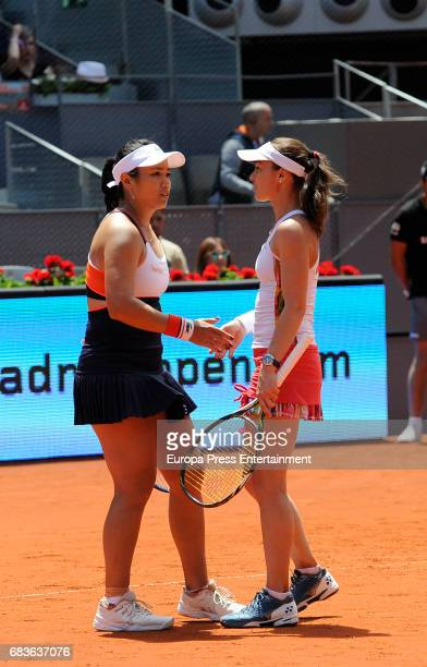 YungJan Chan of Taipei and Martina Hingis of Switzerland during day eight of the Mutua Madrid Open tennis at La Caja Magica on May 13 2017 in Madrid...