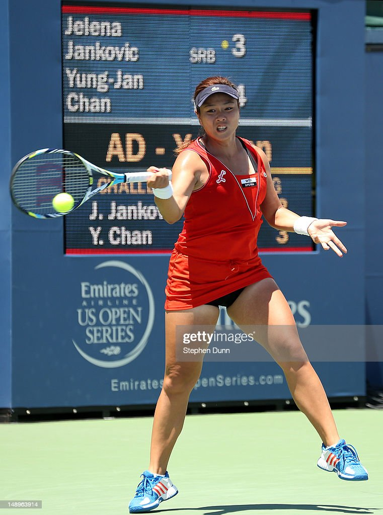 YungJan Chan of Taipei hits a return to Jelena Jankovic of Serbia during day seven of the Mercury Insurance Open Presented By TriCity Medical at La...