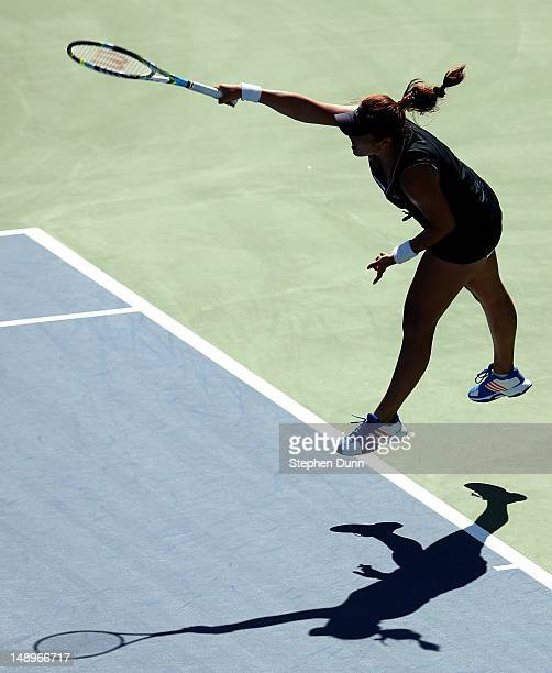 YungJan Chan of Taipei serves to Jelena Jankovic of Serbia during day seven of the Mercury Insurance Open Presented By TriCity Medical at La Costa...