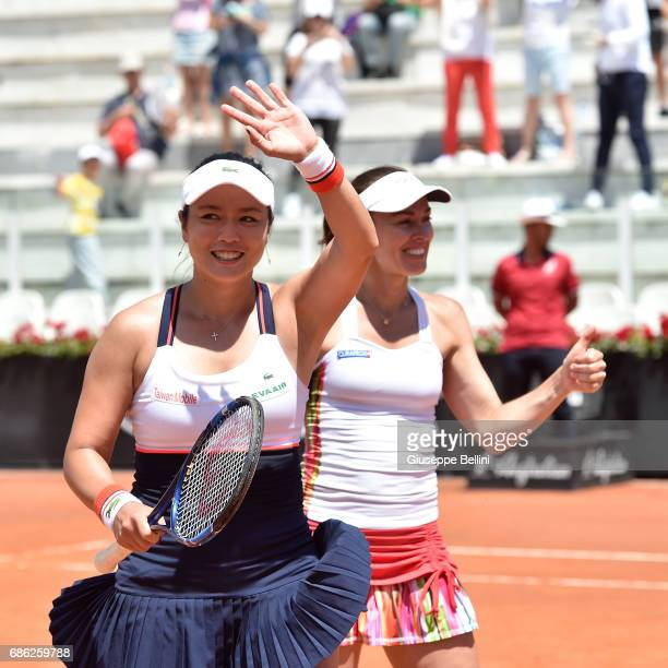 YungJan Chan of Taiwan and Martina Hingis of Switzerland celebrate the victory after the WTA Doubles Final match between YungJan Chan of Taiwan and...