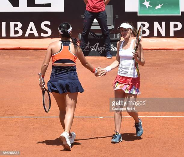 YungJan Chan of Taiwan and Martina Hingis of Switzerland celebrate during the WTA Doubles Final match between YungJan Chan of Taiwan and Martina...