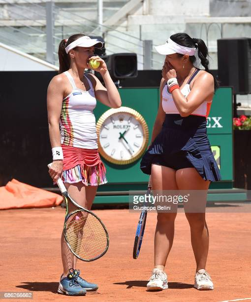 YungJan Chan of Taiwan and Martina Hingis of Switzerland during the WTA Doubles Final match between YungJan Chan of Taiwan and Martina Hingis of...