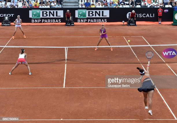 YungJan Chan of Taiwan in action during the WTA Doubles Final match between YungJan Chan of Taiwan and Martina Hingis of Switzerlandand and Ekaterina...