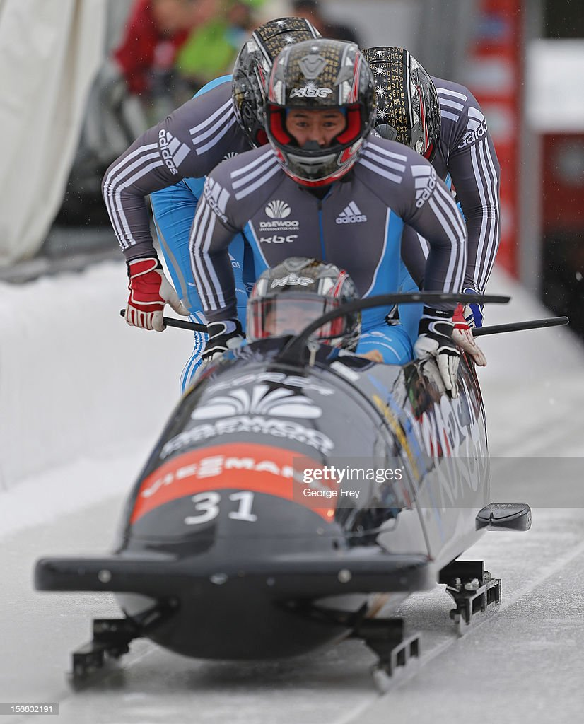 Yungong Won drives Korean 1 sled in the FIBT Men's Four Man Bobsled World Cup Heat 1 at Utah Olympic Park on November 17, 2012 in Park City, Utah.