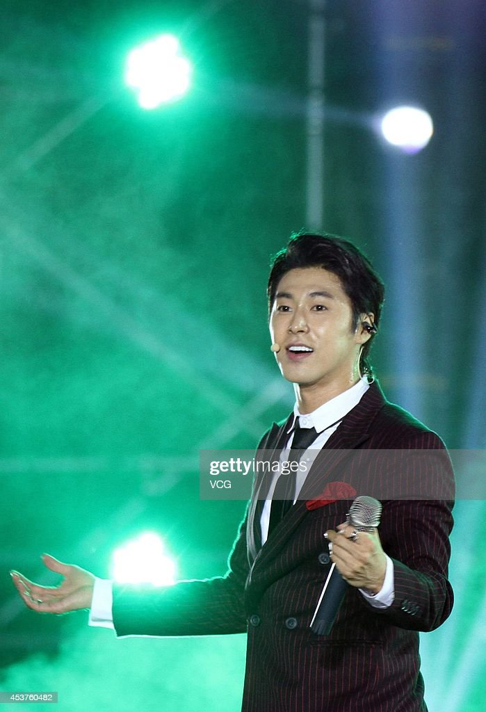 Yunho of idol group Tohoshinki performs on stage at 2014 Automotive International Pudong Carnival In Shanghai on August 17 2014 in Shanghai China