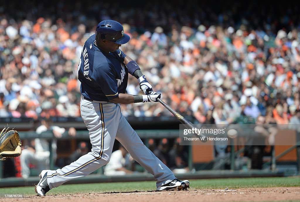 Yuniesky Betancourt of the Milwaukee Brewers bats against the San Francisco Giants at ATT Park on August 8 2013 in San Francisco California