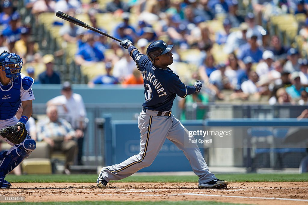 Yuniesky Betancourt of the Milwaukee Brewers bats during the game against the Los Angeles Dodgers on Sunday April 28 2013 at Dodger Stadium in Los...