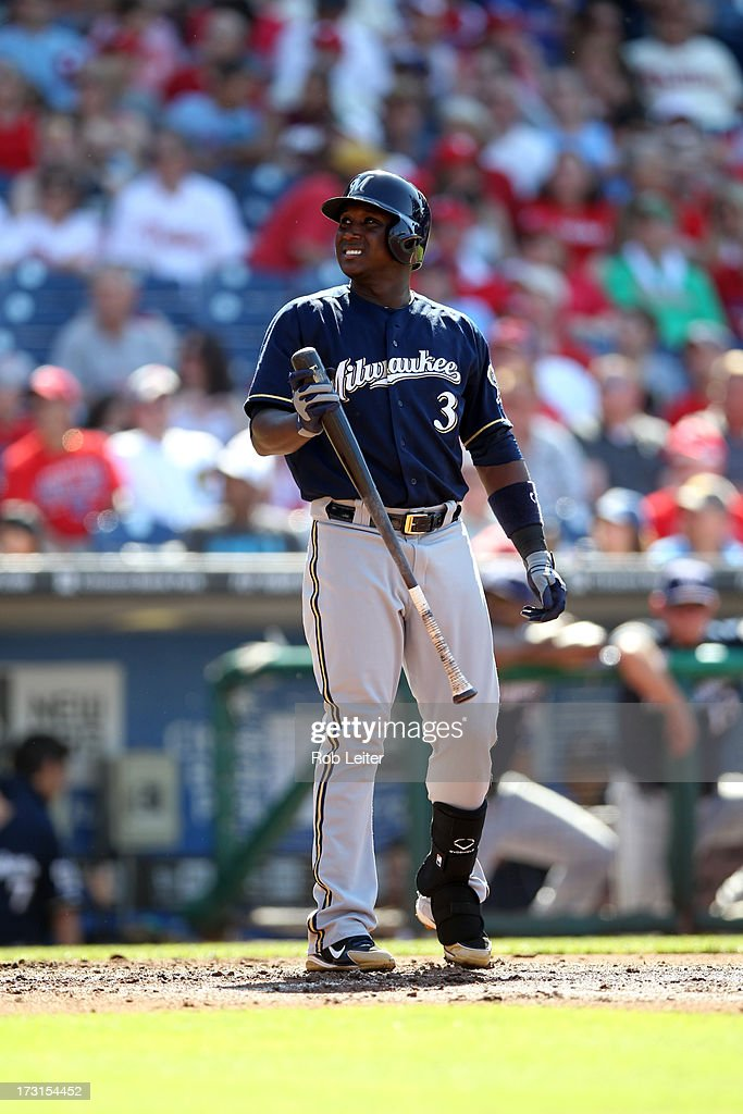 Yuniesky Betancourt of the Milwaukee Brewers bats during the game against the Philadelphia Phillies at Citizens Bank Park on June 1 2013 in...