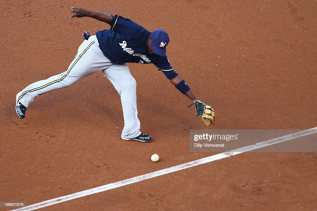 Yuniesky Betancourt of the Milwaukee Brewers fields a ground ball against the St Louis Cardinals in the first inning at Busch Stadium on May 18 2013...