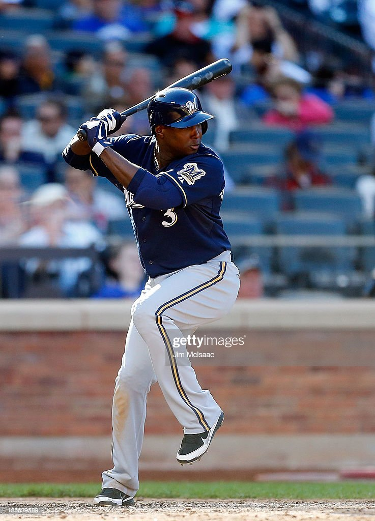 Yuniesky Betancourt of the Milwaukee Brewers in action against the New York Mets at Citi Field on September 29 2013 in the Flushing neighborhood of...