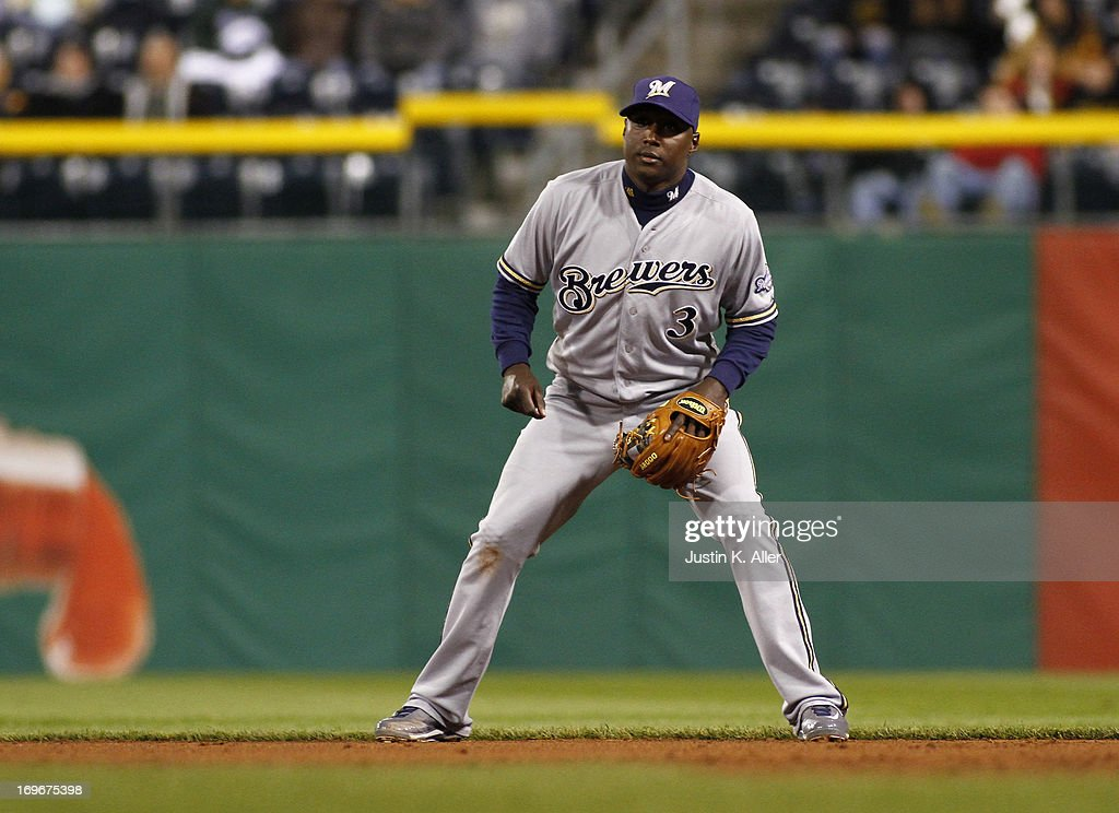 Yuniesky Betancourt of the Milwaukee Brewers plays the field against the Pittsburgh Pirates during the game on May 13 2013 at PNC Park in Pittsburgh...