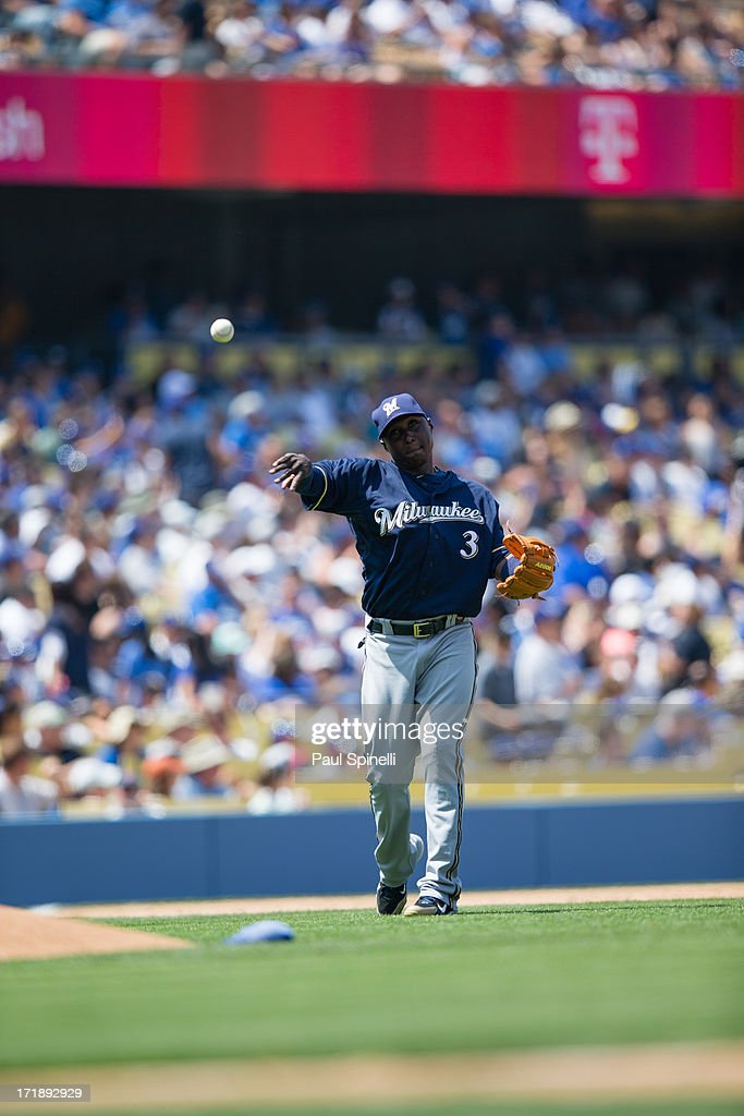 Yuniesky Betancourt of the Milwaukee Brewers throws the ball to first base during the game against the Los Angeles Dodgers on Sunday April 28 2013 at...