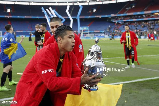 Yuning Zhang of Vitesse with KNVB Beker Dutch Cupduring the Dutch Cup Final match between AZ Alkmaar and Vitesse Arnhem on April 30 2017 at the Kuip...