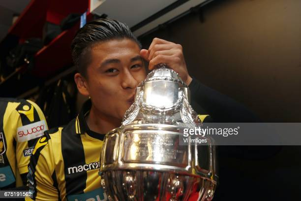 Yuning Zhang of Vitesse with the KNVB Beker Dutch Cupduring the Dutch Cup Final match between AZ Alkmaar and Vitesse Arnhem on April 30 2017 at the...