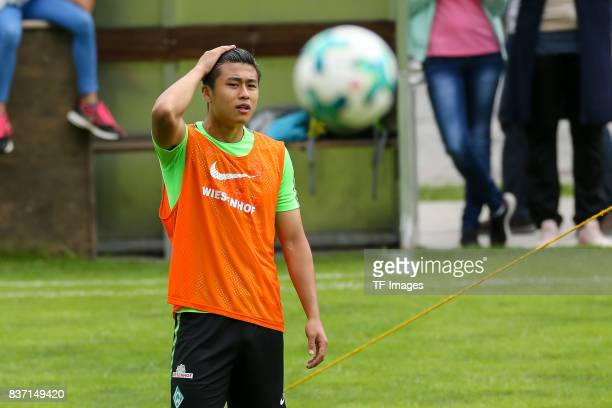 Yuning Zhang of Werder Bremen looks om during the Training Camp of SV Werder Bremen on July 13 2017 in Zell am Ziller Austria