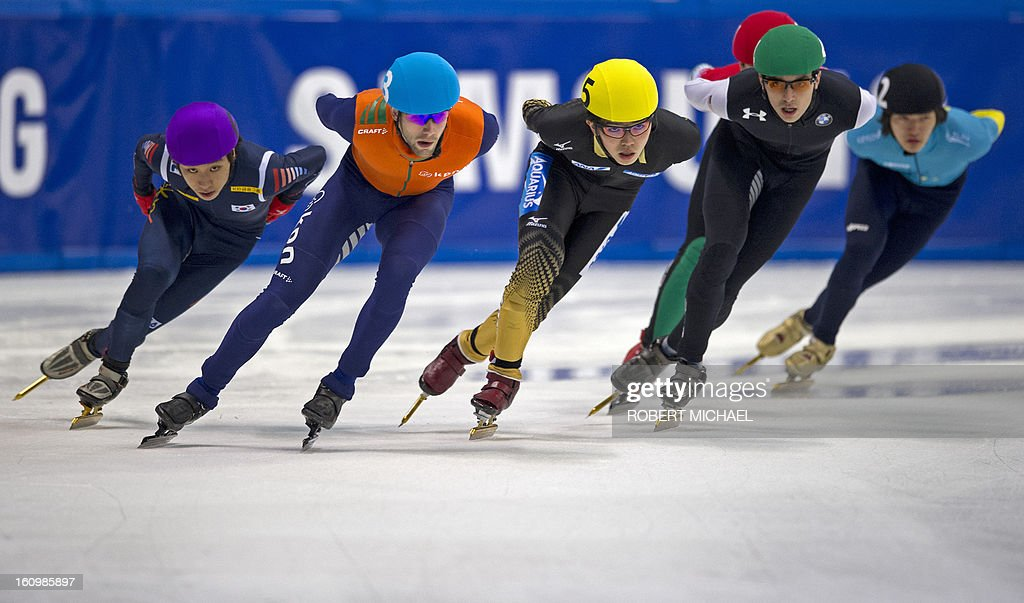 Yun-Jae Kim of Korea, Daan Breeuwsma of the Netherlands, Yoshiaki Oguro of Japan, Kyle Carr of US and Abzal Azhgliyev of Kazakhstan compete in the men's 1500m preliminaries of the ISU World Cup short track speed skating event in Dresden, eastern Germany, on February 8, 2013.