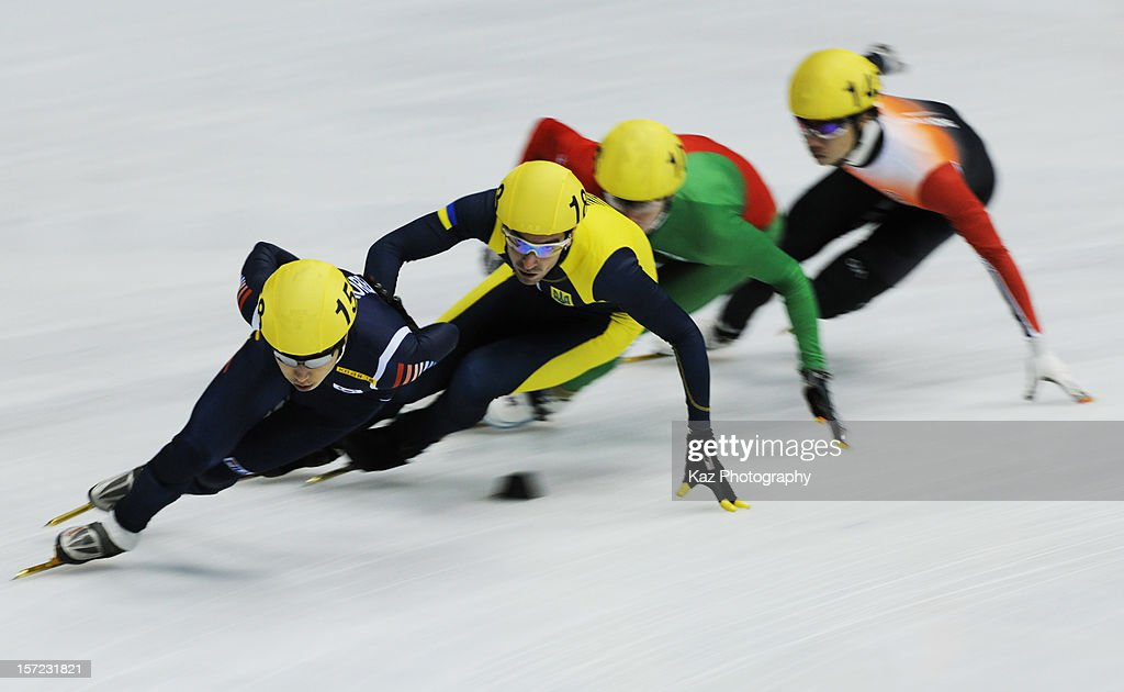 Yun-Jae Kim of Korea leads Race 8 of Men 1500m(2) Preliminaries during day one of the ISU World Cup Short Track at Nippon Gaishi Arena on November 30, 2012 in Nagoya, Japan.