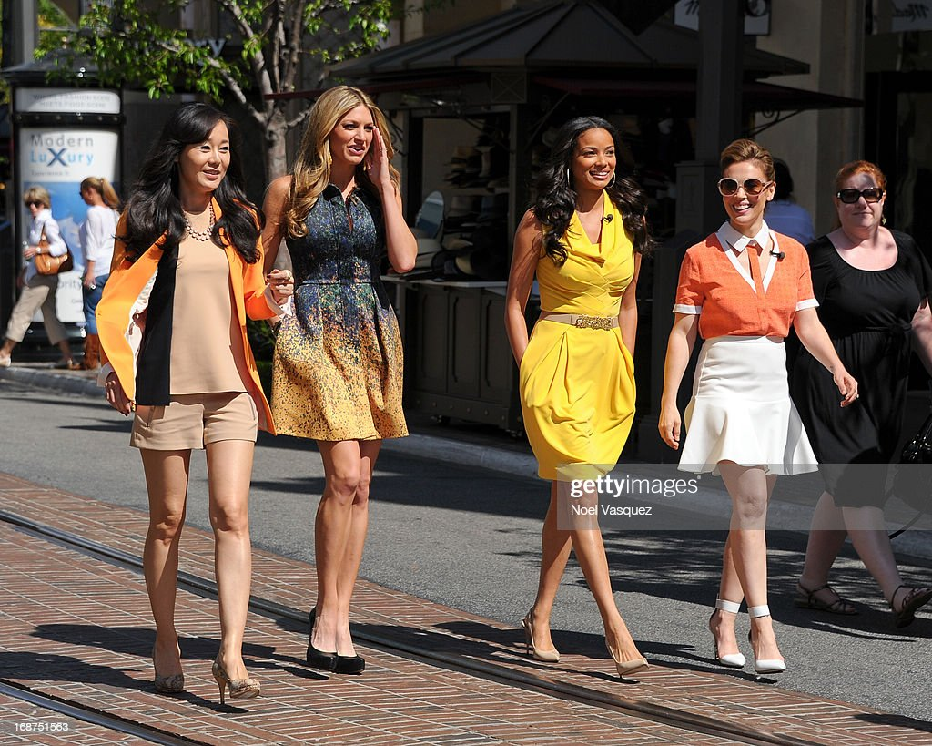 Yunjin Kim, Jes Macallan, <a gi-track='captionPersonalityLinkClicked' href=/galleries/search?phrase=Rochelle+Aytes&family=editorial&specificpeople=843599 ng-click='$event.stopPropagation()'>Rochelle Aytes</a> and <a gi-track='captionPersonalityLinkClicked' href=/galleries/search?phrase=Alyssa+Milano&family=editorial&specificpeople=203329 ng-click='$event.stopPropagation()'>Alyssa Milano</a> are sighted at The Grove on May 14, 2013 in Los Angeles, California.